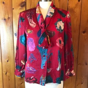 Vintage Silk Vegetable Garden Blouse Garnet Red